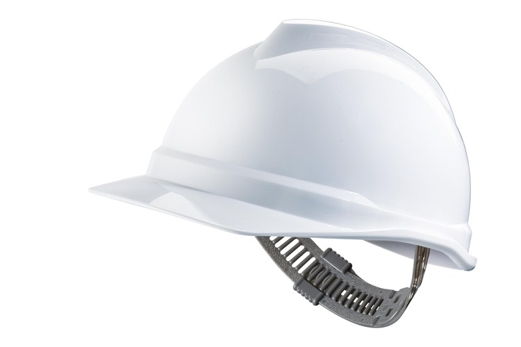 MSA V-Gard 500 Non-Vented Reduced Peak Safety Helmet with Staz-On Harness White